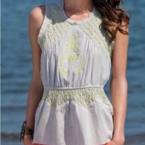 Anthro HD in Paris Embroidered Peplum Top S